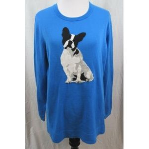 Crown & Ivy Blue English Terrier Light Sweater L
